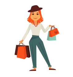 Cartoon stylish redhead female character with vector