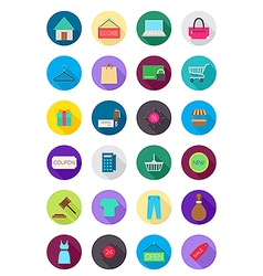 Color round shopping icons set vector image