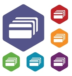 Credit card hexagon icon set vector