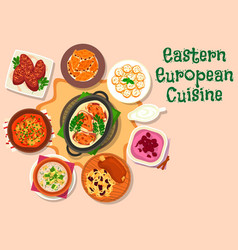 Eastern european cuisine dinner menu icon design vector