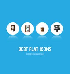 Flat icon life set of clock questionnaire bureau vector