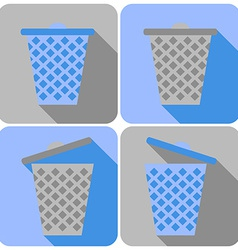 Flat icons with garbage can closed and open vector