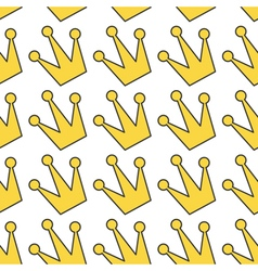 Gold yellow contour crown icon king queen princess vector