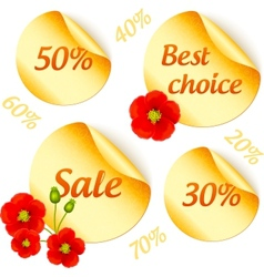 golden sale stickers isolated set vector image vector image