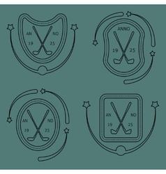 Golf sport items linear set vector