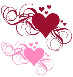 Heart with ornamental swirls vector image