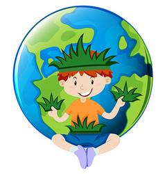 Little boy and earth theme vector