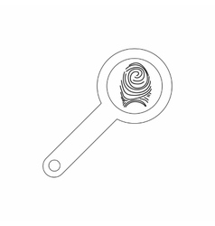 Magnifying glass with fingerprint icon vector image vector image