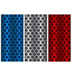 Metal perforated backgrounds blue silver and red vector