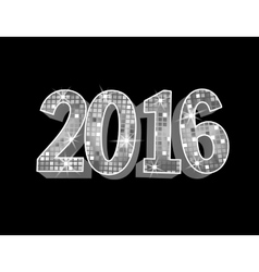 Number 2016 formed by glowing silver squares vector image vector image