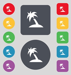 Palm tree travel trip icon sign a set of 12 vector