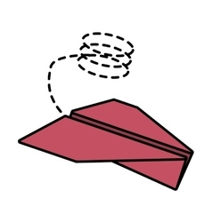 Paper plane flying model line dotted vector
