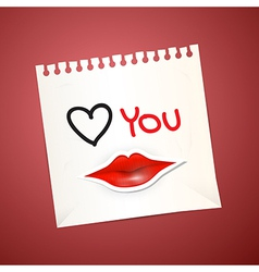 Paper Sheet with Love You Title and Paper Mouth vector image vector image