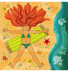 Redhead smiling girl on the sea beach vector