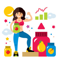 sports nutrition and girl flat style vector image vector image