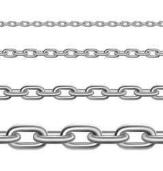 Steel chains horizontal realistic set vector