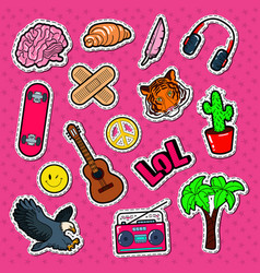 teenager lifestyle fashion stickers patches vector image vector image