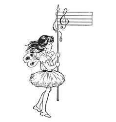Treble clef fairy vintage vector