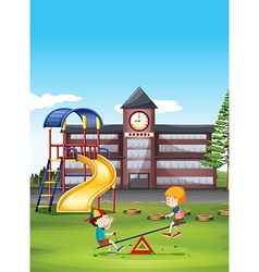 Two boys playing seesaw at school vector