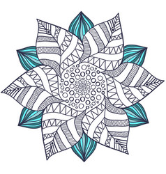Unique mandala in floral style circle zentangle vector