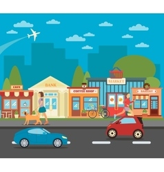 Urban cityscape with shops active people and cars vector