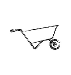 wheelbarrow flat icon monochrome blurred vector image