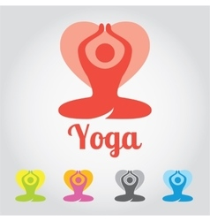 Yoga sign lotus flower in different colors with vector image vector image