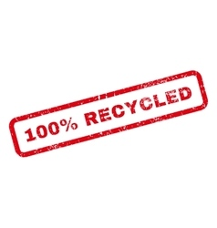 100 percent recycled text rubber stamp vector