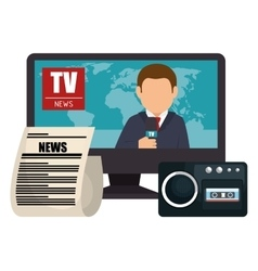 Set news tv microphone paper graphic isolated vector
