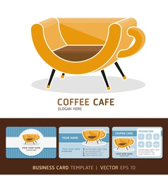 Coffee cafe icons logo and business card design vector image