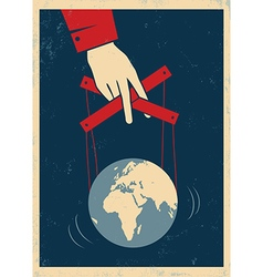 Hand and earth poster red vector