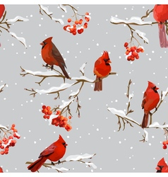 Winter birds with rowan berries retro background vector