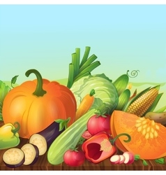 Vegetables on shelf composition vector