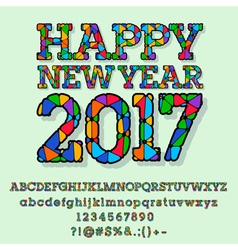 Patched bright happy new year 2017 greeting card vector