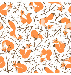 Scurry of squirrels on the branches seamless vector