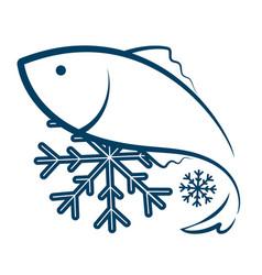 Symbol of frozen fish vector