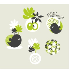 Design elements with birds and flowers vector image