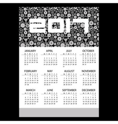 2017 simple business wall calendar with clock vector