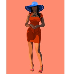 Beautiful woman in a wide brimmed hat vector