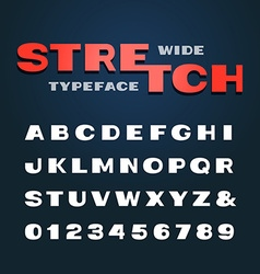 Wide font alphabet with stretch effect letters and vector