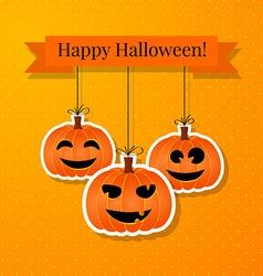 Halloween background with smiling pumpkins vector