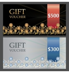 Two voucher templates with gold silver premium vector