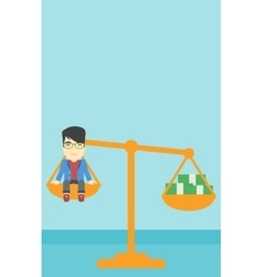 Businessman sitting on scale with stacks of money vector