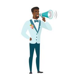 African-american groom talking into loudspeaker vector