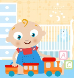 baby playing toy vector image
