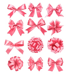 Big set of pink gift bows and ribbons vector image