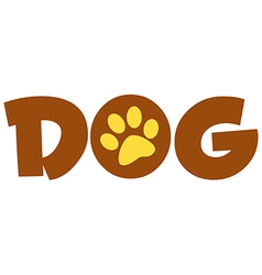 Brown Dog Text With Paw Print vector image