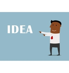 Cartoon businessman presenting a new idea vector