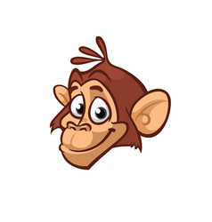 cartoon monkey head icon isolated vector image vector image