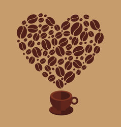 Coffee heart vector